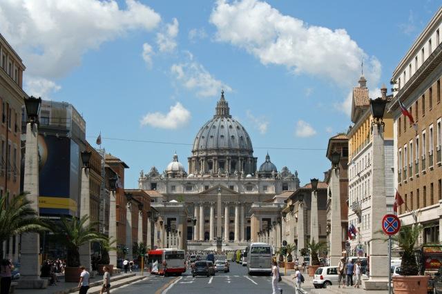 View of St. Peter's Basilica from Via della Conciliazione