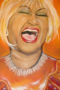 Beautiful painting of Celia Cruz hanging inside of the shop