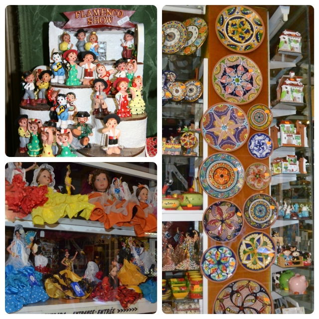 Typical souvenir shops selling Sevillana dolls and cermaics