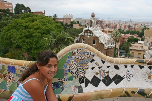 Famous tiled benches in Parc Güell