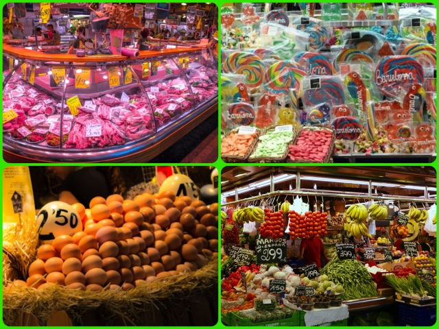 Some of the many stalls at La Boqueria