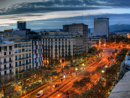 Passeig de Gracia at night