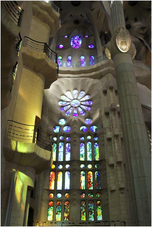 Stained Glass interior of La Sagrada Familia