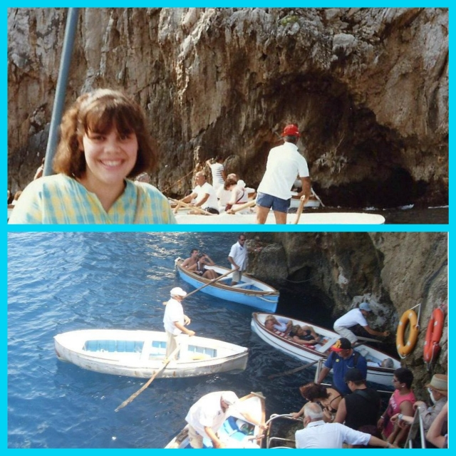 Top; my only visit to the Blue Grotto Bottom; Rowboats with people lying down