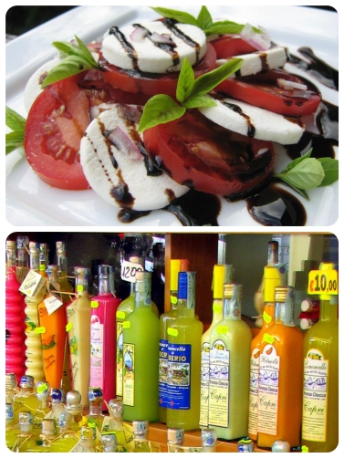 Delicious Caprese salad and beautiful limoncello bottles for sale.
