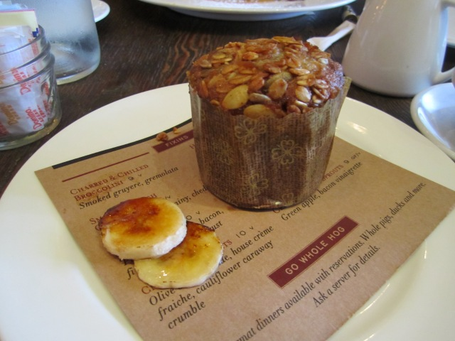 Granola Crusted, Cream Cheese Stuffed Warm Banana Muffin