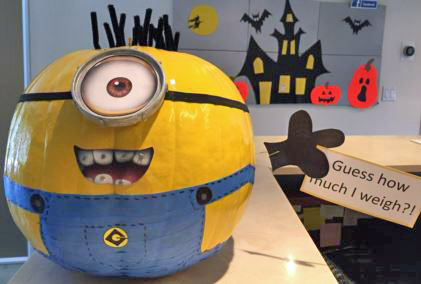 The cutest minion pumpkin at my daughter's orthodontist offce.