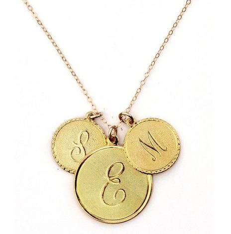 Dalton Initial Charm Necklace with 3 Charms, Threee Hip Chicks, $68