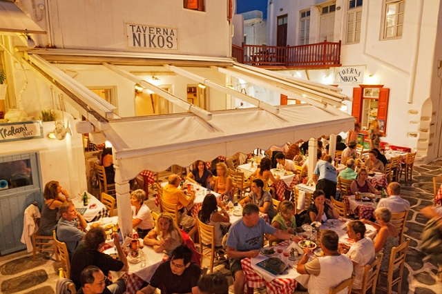 Nikos Taverna in the evening.  Photo Courtesy of Gary Black Photography