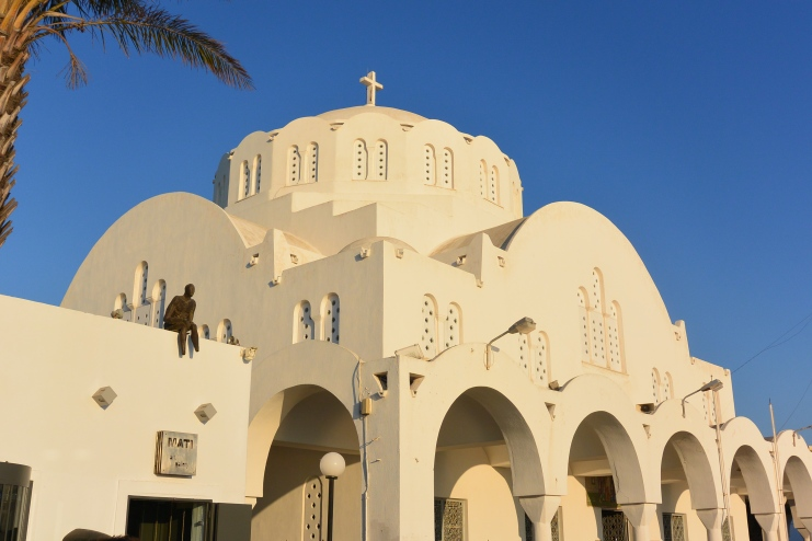The largest church of Santorini, the Orthodox Cathedral located at the center of Fira.