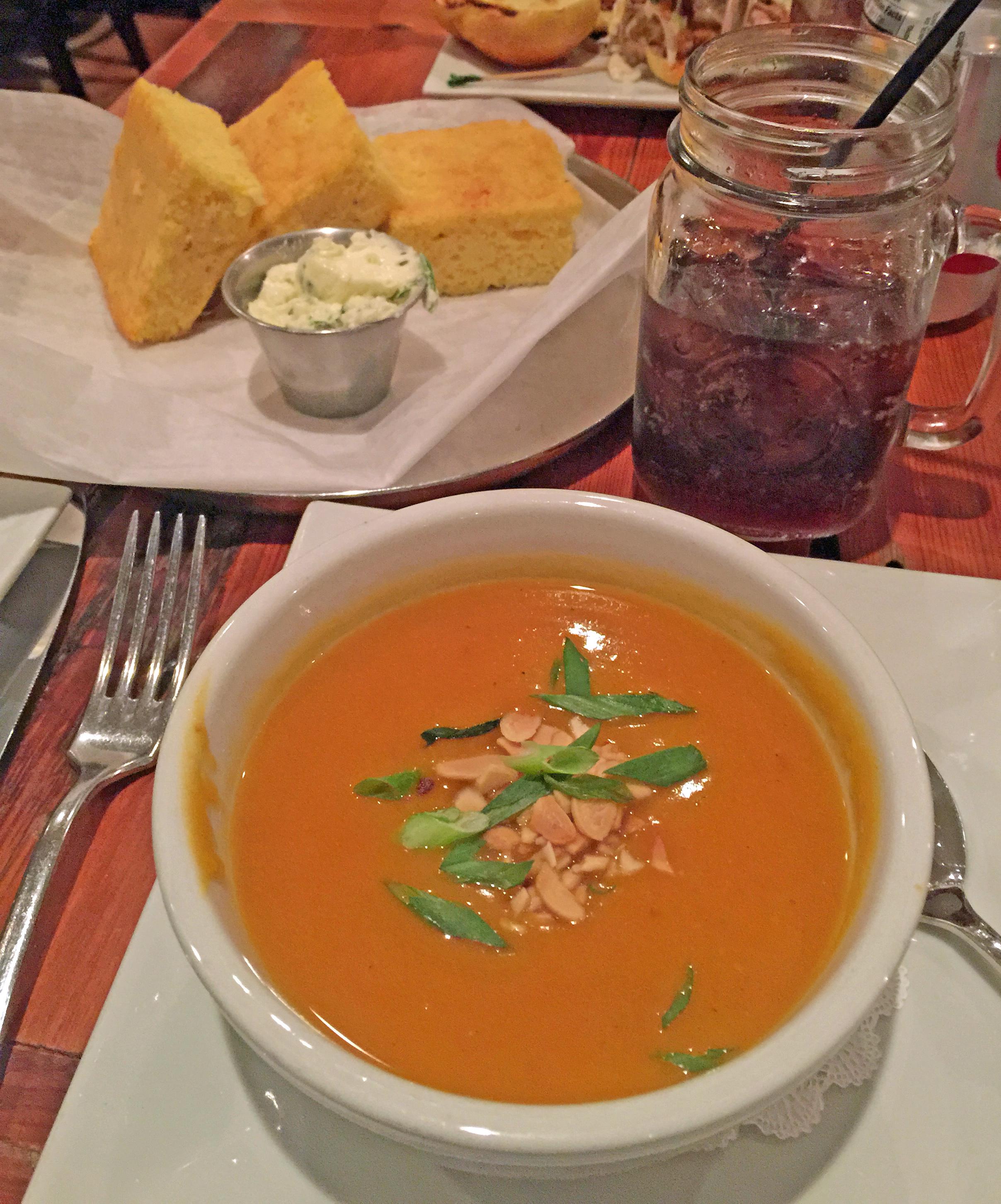 Warm homemade Corn bread and Butternut Squash Soup