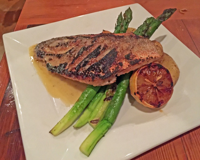 Pan Roasted Snapper Filet, fingerling potato cake, grilled asparagus, beurre blanc, charred lemon