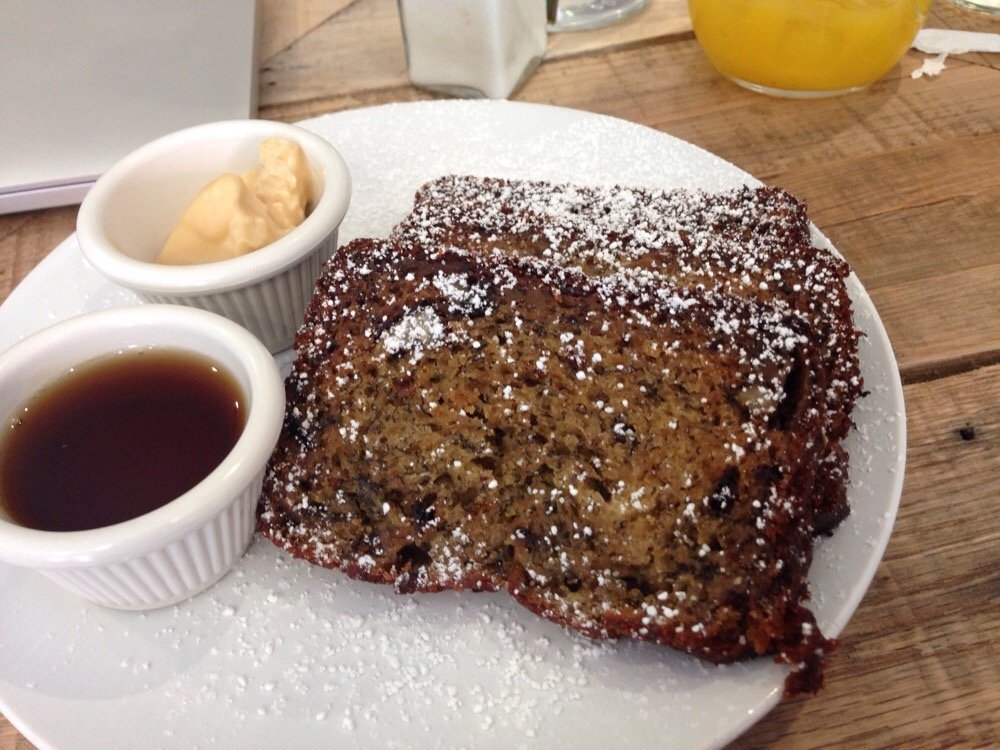 Mornin' Monkey... banana and walnut bread served with espresso butter and maple syrup...
