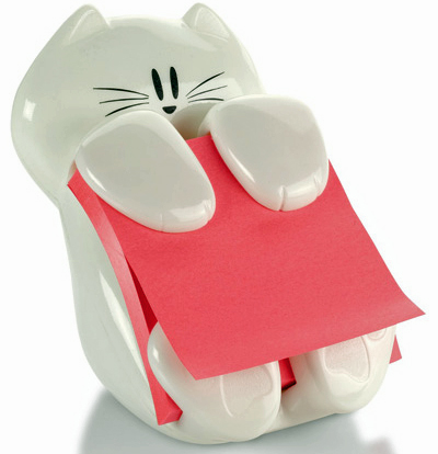 Kitty post-it dispenser, found here.