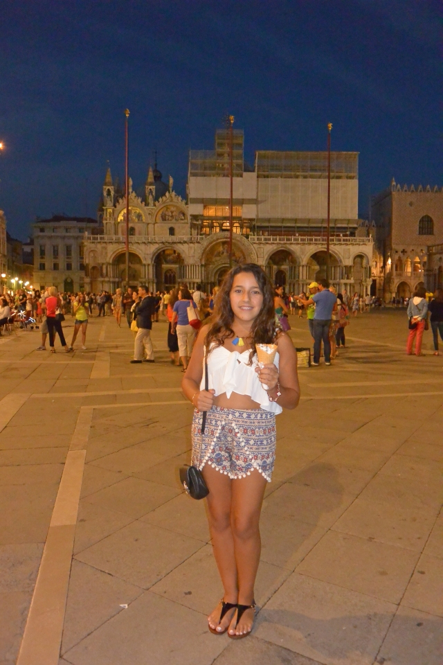 Enjoying a late evening stroll through St. Mark's while having some gelato...