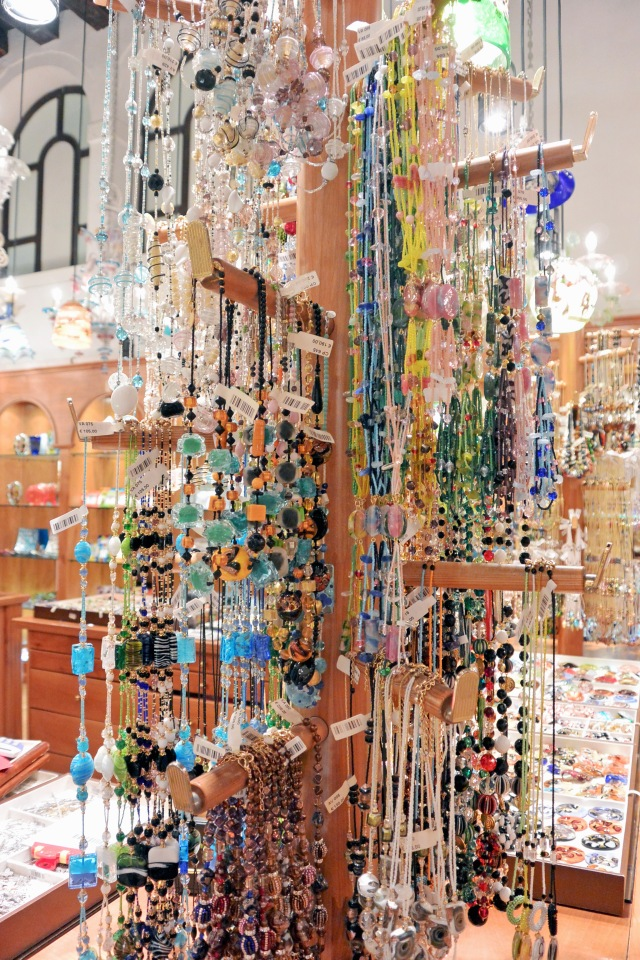 The beautiful glass jewelry available at Vecchia Murano.