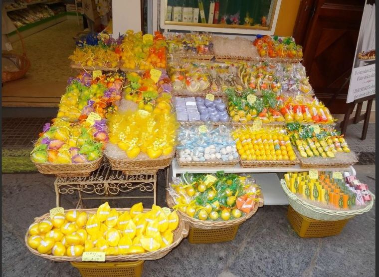 Lemon drinks, soaps and candles, all very popular throughout  the Amalfi Coast