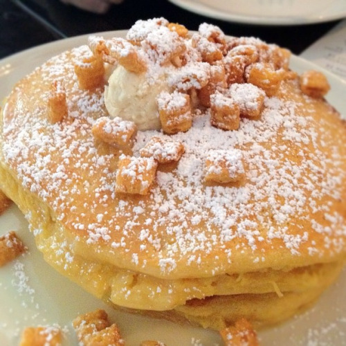 Cap'n Crunch Pancakes, smothered in condensed milk syrup
