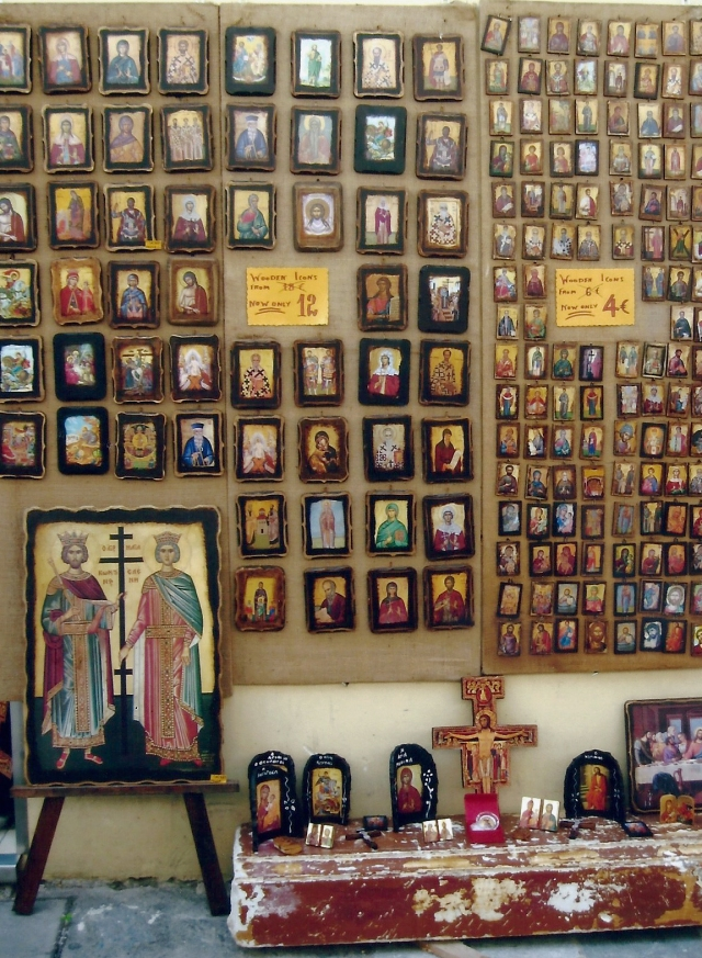 One of the many shops selling Greek Byzantine Orthodox icons