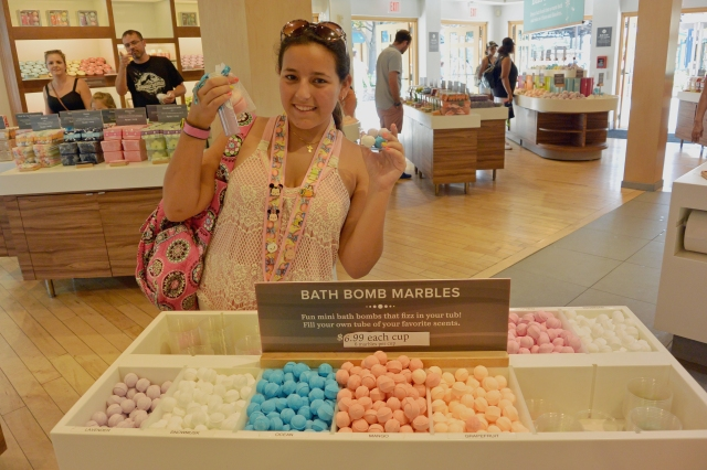 Checking out the bath bomb marbles