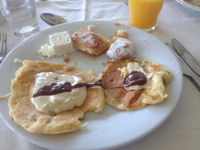 Crepes with white and milk chocolate.