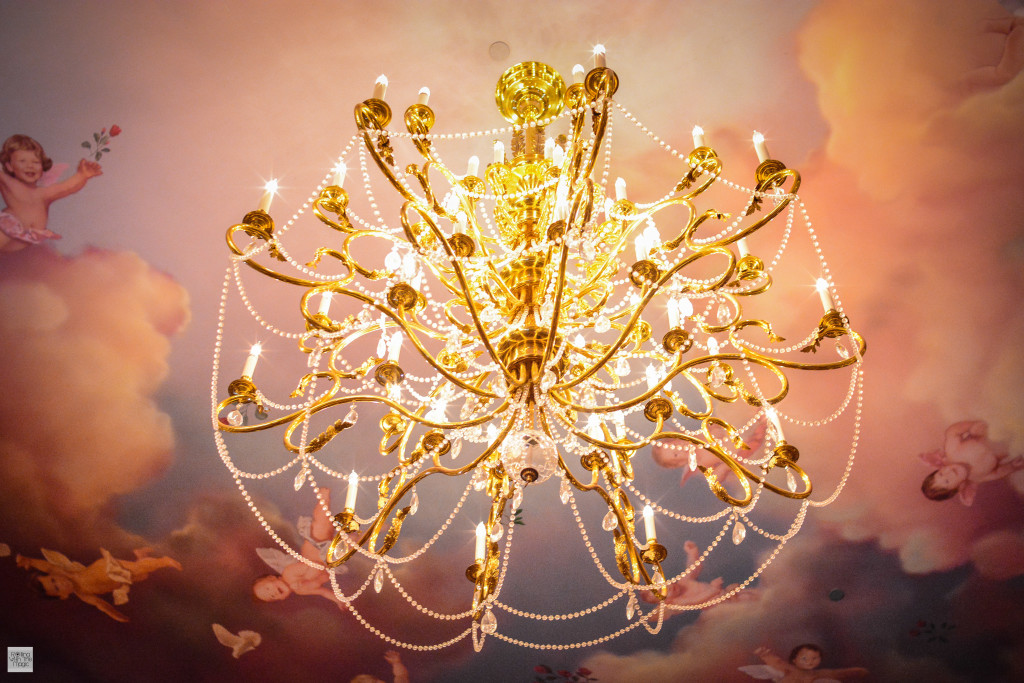The gorgeous 12 foot chandeliers
