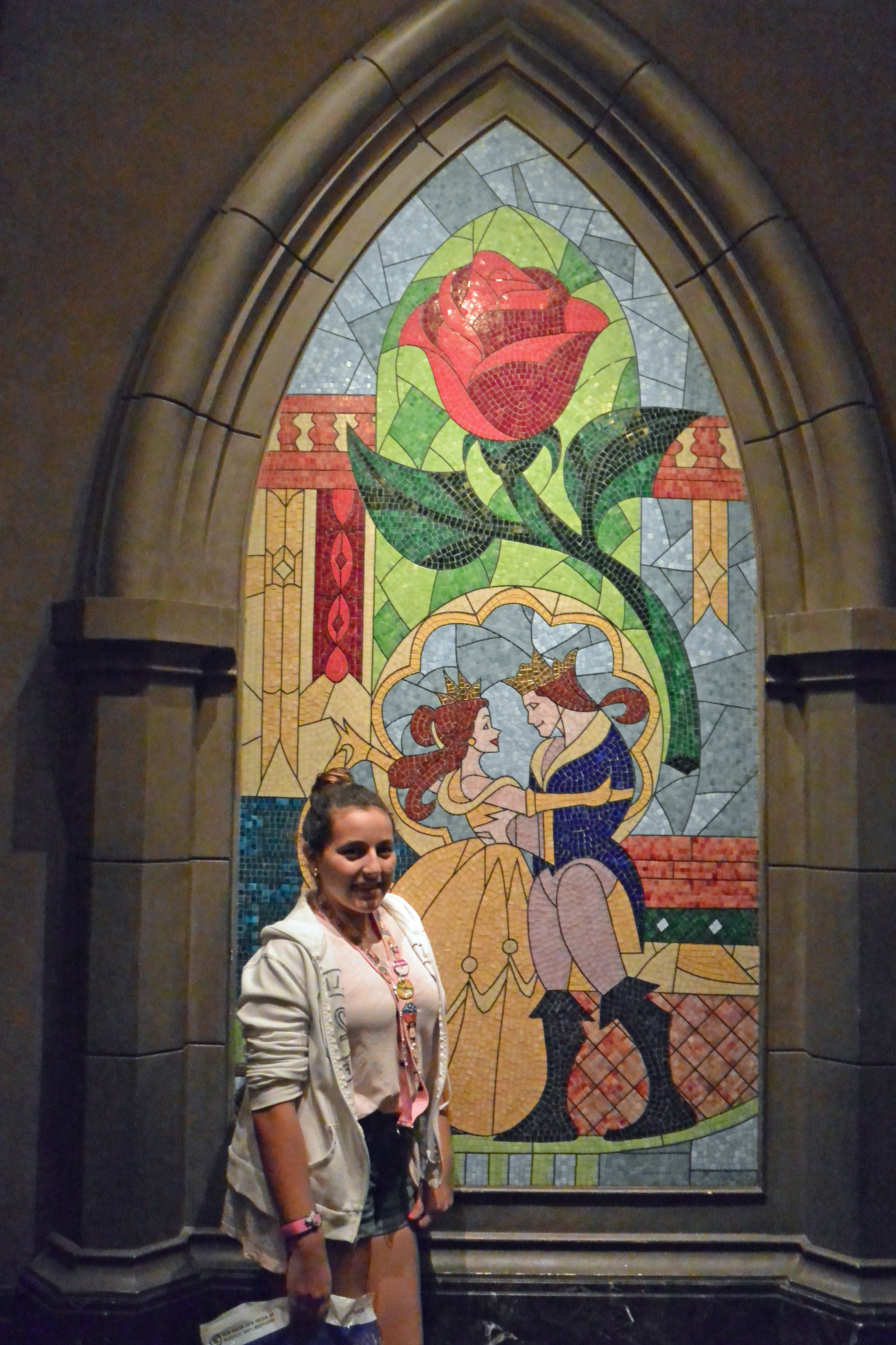 The beautiful stained glass window at the entrance.