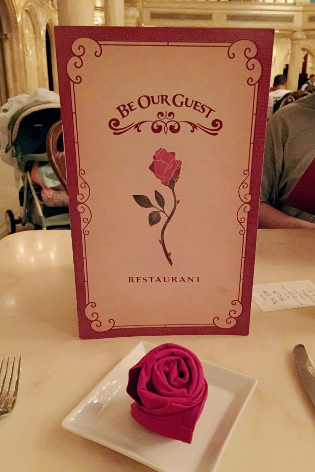 The menu and the rose napkin...nice touch.
