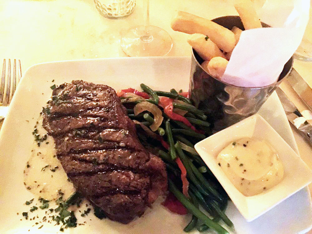 Grilled strip steak with french fries!