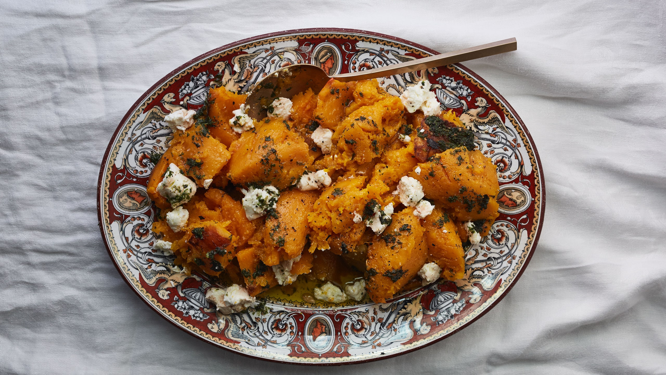 roasted-butternut-with-herb-oil-and-goat-cheese